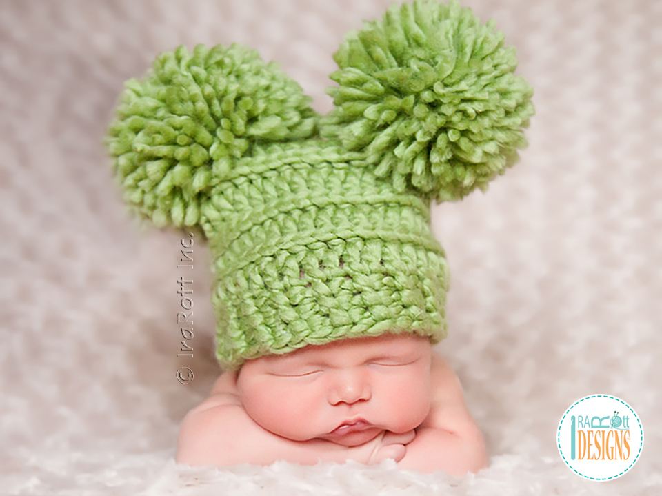 21b533dc019 Crochet Pattern PDF for Making a Stylish Chunky Hat with PomPoms or Tassels  by IraRott Inc