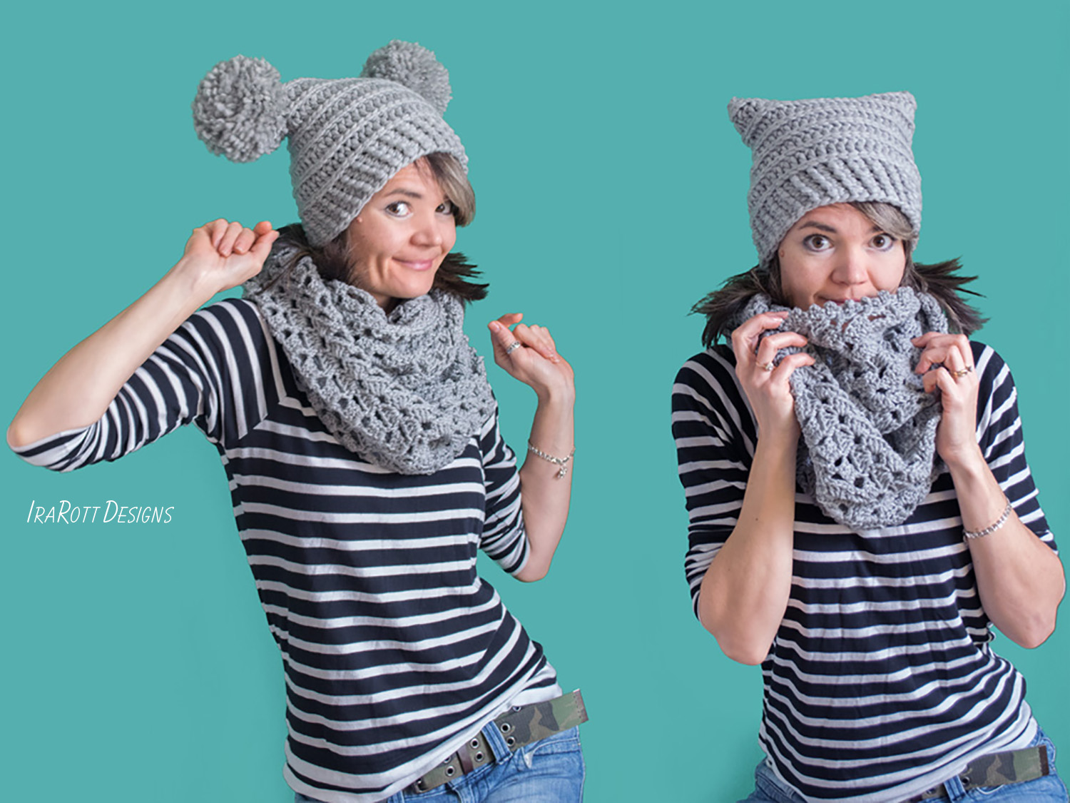 Crochet Pattern PDF for Making a Stylish Chunky Hat with PomPoms or Tassels by IraRott Inc.
