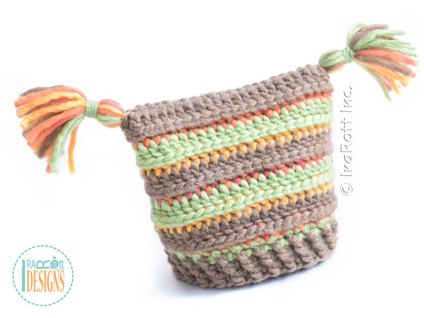Yarn Amy Square Hat with PomPoms PDF Crochet Pattern - IraRott Inc.