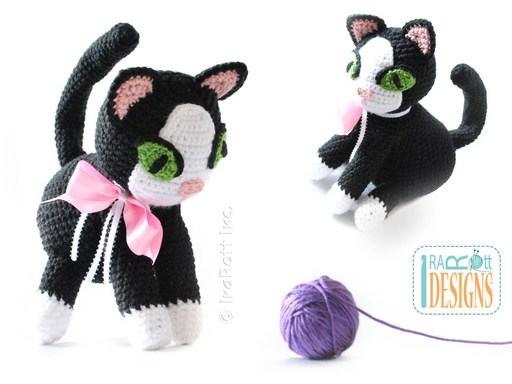 PDF Crochet Pattern for making a cute Siamese or Tuxedo Kitty Amigurumi Toy