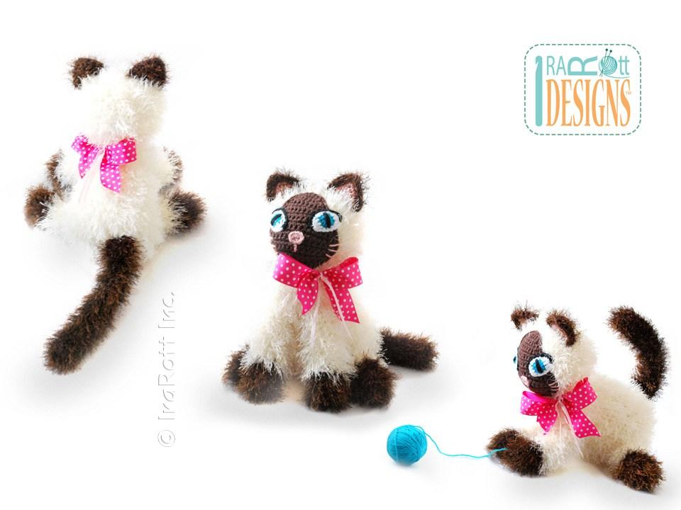 Yin And Yang Siamese Or Tuxedo Kitties Amigurumi Toy Pdf Crochet