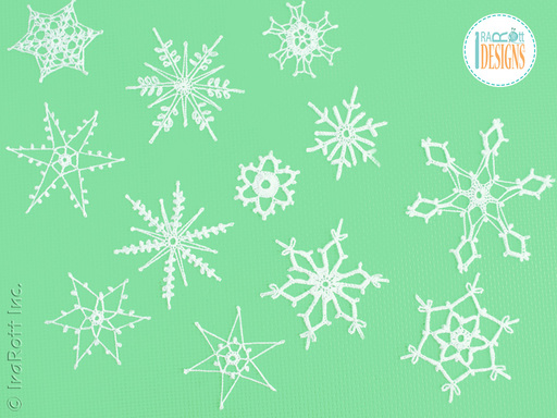 Free PDF Crochet Pattern for making a beautiful set of 12 Snowflakes for your Christmas Tree by IraRott Inc.