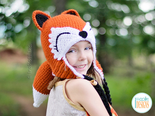 Crochet pattern PDF for making a cute woodland animal fox hat with tail for boys and girls of all ages