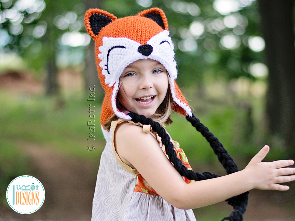 Fox Animal Hat Crochet Pattern for Boys and Girls of all ages by IraRott
