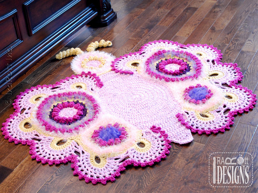 Cathy the Butterfly Lace Crochet Rug Pattern designed and made by IraRott
