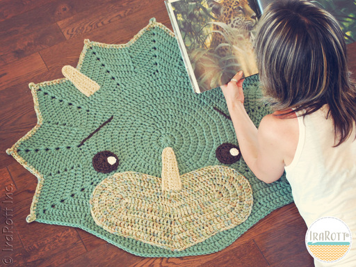 Cera Dinosaur Triceratops Dino Rug Pattern designed and made by IraRott