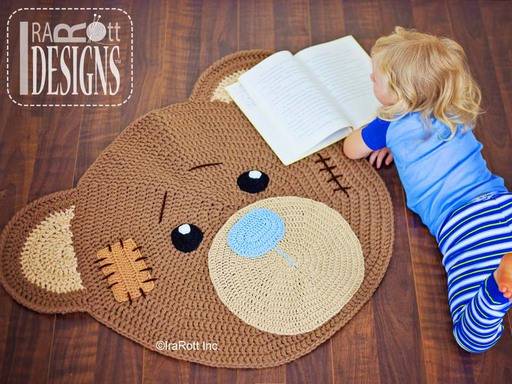Classic Teddy Bear Crochet Nurserry Rug Pattern designed and made by IraRott