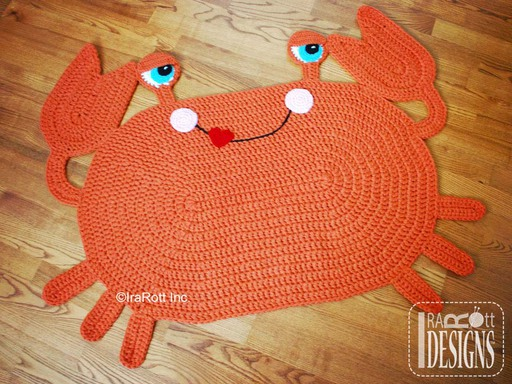 Cranky Crab Nursery Rug Crochet Pattern designed and made by IraRott