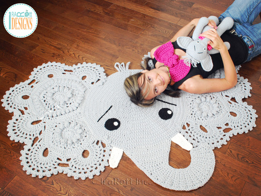 Jeffery the Elephant Crochet Rug Pattern designed and made by IraRott