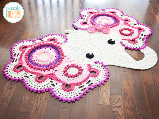 Josefina the Elephant Crochet Rug Pattern designed and made by IraRott