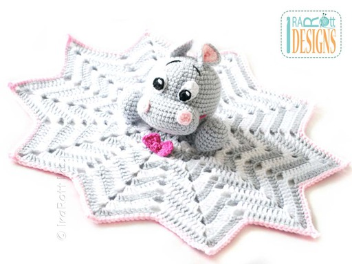 Crochet Happy Hippo the Hippopotamus Security Blanket Pattern designed and made by IraRott