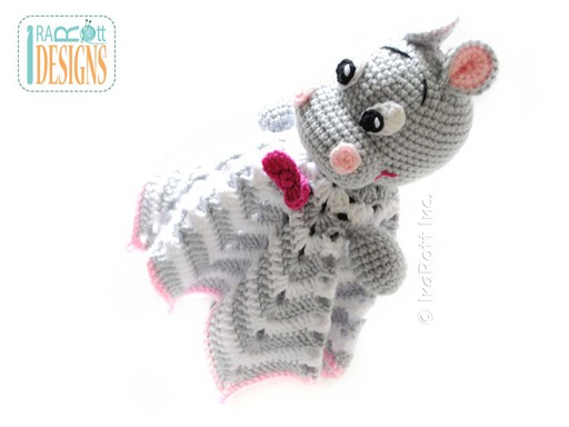 Crochet Hippo Hippopotamus Security Blanket designed and made by IraRott