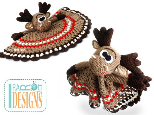 Eh Moose Crochet Security Blanket Pattern designed and made by IraRott