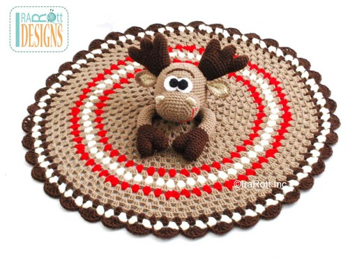 Eh Moose Crochet Lovey Blanket Pattern designed and made by IraRott