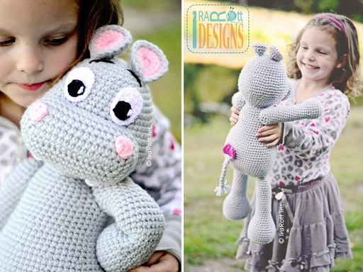 Happy Hippo the Hippopotamus Amigurumi Toy Crochet Pattern by IraRott