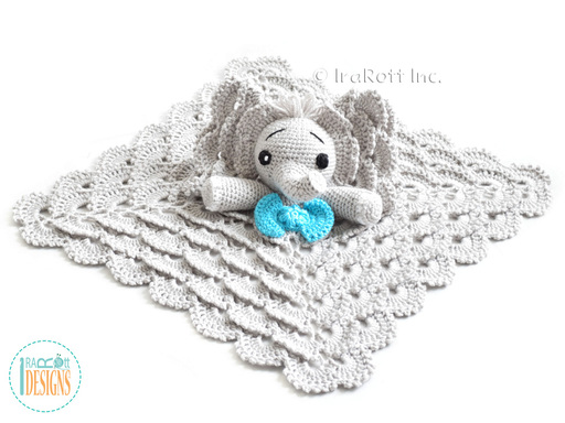 Jeffery Elephants Security Blanket Crochet Pattern designed and made by IraRott