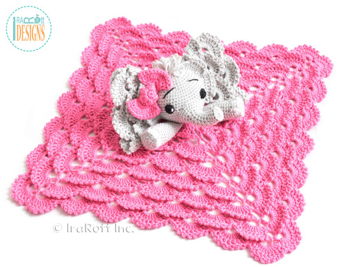 Josefina Elephant Crochet Lovey Blanket designed and made by IraRott