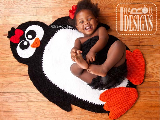 Happy Feet Penguin Rug Crochet Pattern designed and made by IraRott