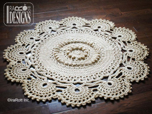 Retro Doily Rug Crochet Mat Pattern designed and made by IraRott