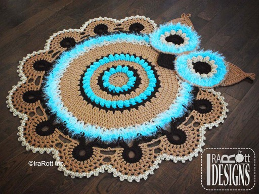 Retro Owl Crochet Nursery Rug Pattern designed and made by IraRott