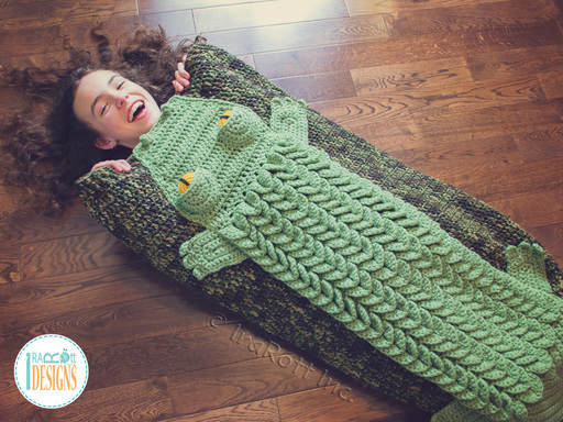 Alligator Crocodile Animal Sleeping Bag Blanket Crochet Pattern for boys and girls of all ages by IraRott