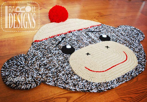 Spunky Sock Monkey Rug Crochet Pattern designed and made by IraRott