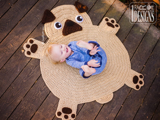 The Pugfect Pug Crochet Rug Pattern designed and made by IraRott