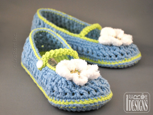 Adult Crochet Double-sole Slippers with Daisy