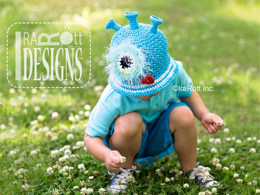Alien Space Monster Crochet Sunhat designed and made by IraRott