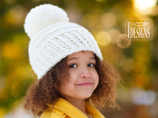 Chunky Crochet Hat with Pom-Pom designed and made by IraRott