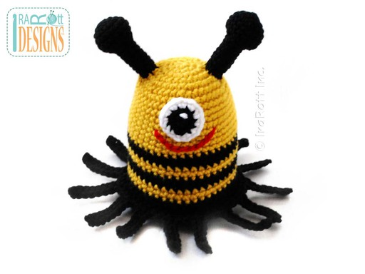 Amigurumi Monster Bee Stuffed Toy Crochet Pattern by IraRott