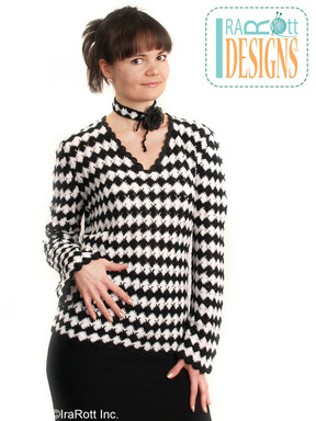 Classic Black and White Long Crochet Sweater designed and made by IraRott