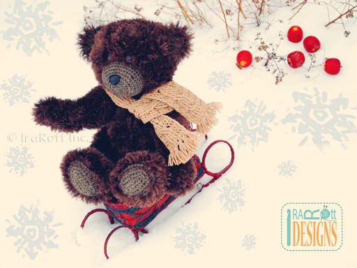 Furry Teddy Bear With Crochet Cabled Scarf Crochet Pattern by IraRott