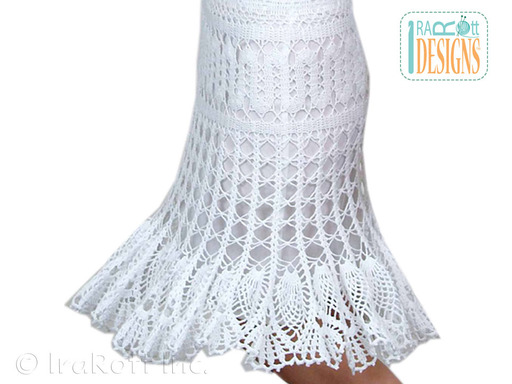 bruges lace crochet skirt with pineapple ruffled ham pattern by irarott