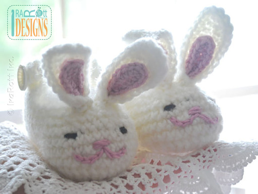 Adorable Easter Bunny Crochet Baby Booties designed by IraRott