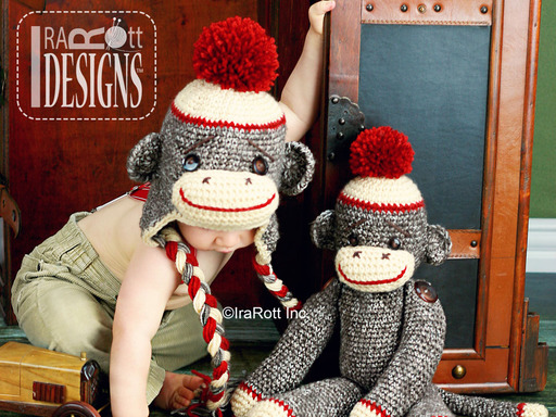 Classic Twist Sock Monkey Hat designed and made by IraRott
