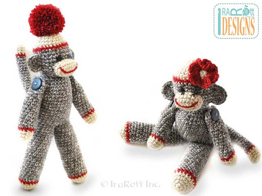 Sock Monkey Amigurumi Toy with Pom-Pom and Flower Crochet Pattern by IraRott