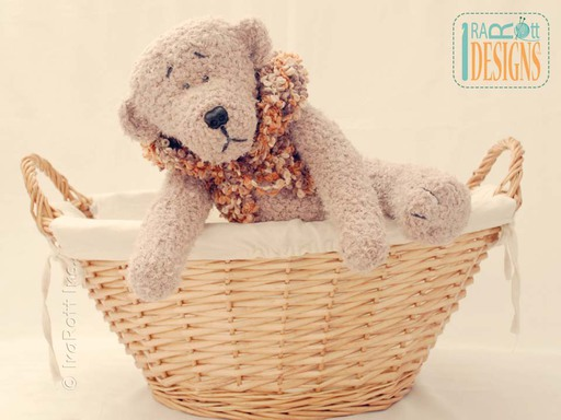 Soft Plush Teddy Bear Amigurumi Toy with Hand Crochet Vest for Kids by IraRott