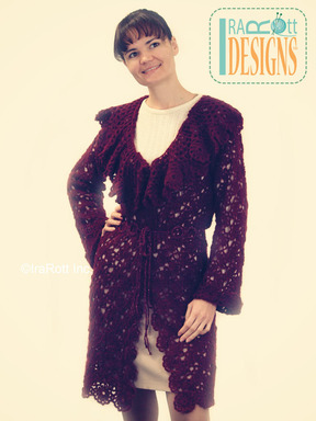 Lace Tape Crochet Cardigan with Ruffled Collar  designed and made by IraRott