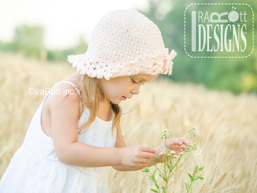 Crochet Cotton Sunhat with Brim and flower by IraRott