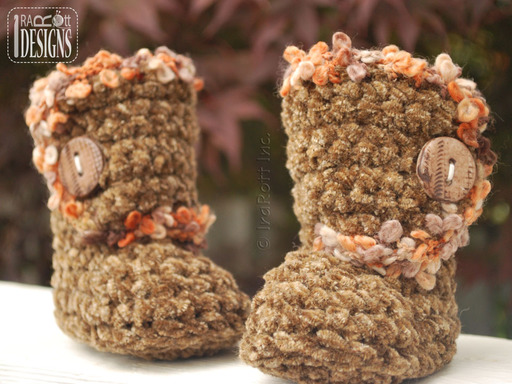 Soft Plush Country Crochet Baby Boots designed by IraRott