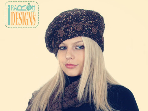 Crochet French Beret with Flowers designed and made by IraRott