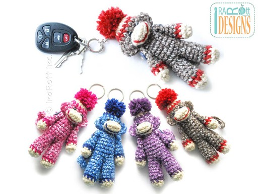 Mini Sock Monkey Key-Chain Crochet Pattern by IraRott