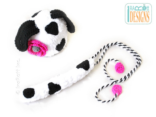 Crochet Dalmatian Puppy Dog Hat and Tail designed by IraRott