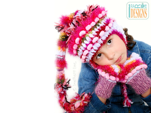 Crochet Furry Elf Hat with Tail and matching Mittens designed and made by IraRott