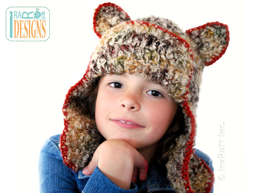 Crochet Kitty Cat Hat with Ears designed and made by IraRott
