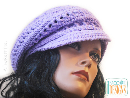 Crochet Newsboy Hat with Brim designed and made by IraRott
