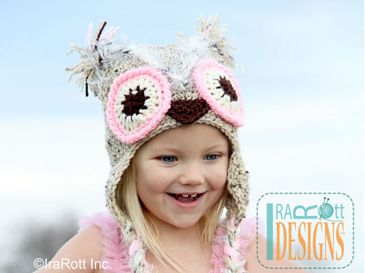 Adorable Crochet Owl Animal Hat with Pink Eyes designed and made by IraRott