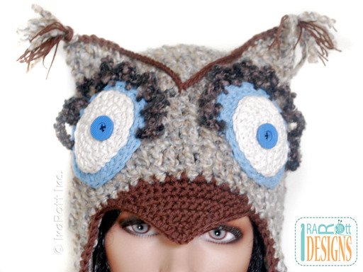 Crochet Owl Hat with Loopy Eyes designed and made by IraRott