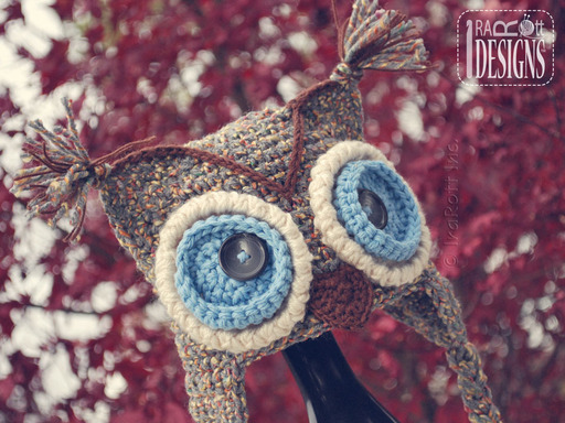 Crochet Owl Hat with Big Eyes designed and made by IraRott